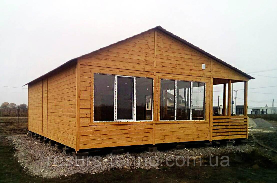 Дачный домик 9м х 6м из фальшбруса с террассой