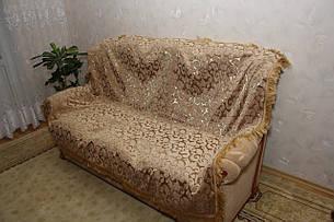 Двуспальные покрывала Вензель бежевый в комплекте для дивана и кресел, фото 2