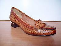 Туфли Gotti натуральная рыжая кожа, с теснением под рептилию, низкий каблук