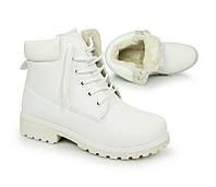 Зимние ботинки тимберленд на каждый день, белого цвета