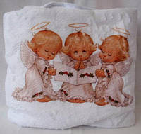 Махровая белая крыжма полотенце для крещения (купания) малышей 0,95 м х 0,95 м. Борисполь
