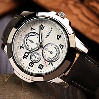 Мужские часы Yazole 350 белые с черным ремешком