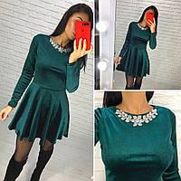 Женское вечернее велюровое  платье AGATA   цвет Серый