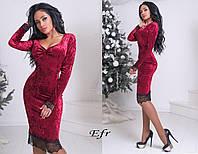 Вечернее бархатное платье с кружевом / 4 цвета арт 3063-204
