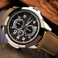 Мужские часы Yazole 350 черные с коричневым ремешком