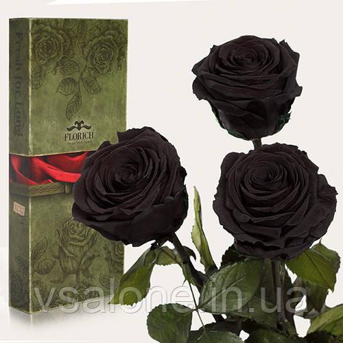Долгосвежая роза FLORICH - Набор из 3шт ЧЕРНЫЙ БРИЛЛИАНТ (5 карат на коротком стебле)