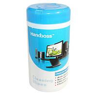 Салфетки чистящие Handboss, для оргтехники, туба, 88 шт - для чистки ноутбука, компьютера, монитора и техники