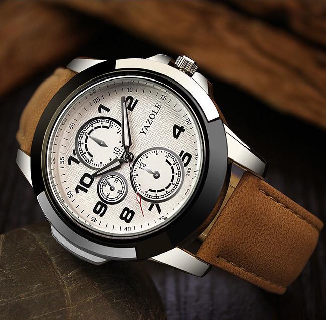 Чоловічі годинники Yazole 350 білі з коричневим ремінцем