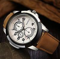 Мужские часы Yazole 350 белые с коричневым ремешком, фото 1
