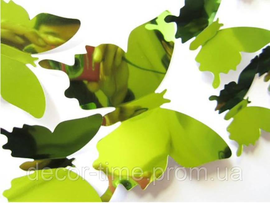 Зеркальные 3D бабочки на холодильник , стену , мебель (05814)