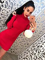 Женское повседневное  платье под горло BERTA  цвет Красный