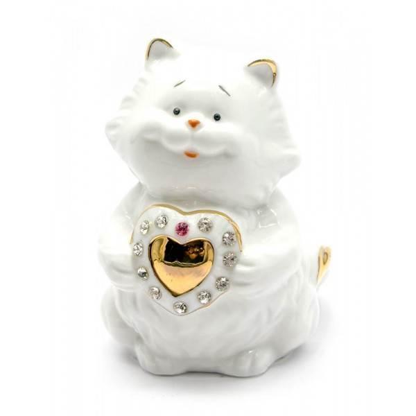 Статуэтка Кошка с сердечком фарфор