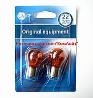 Лампа указателя поворота оранжевая GE PY21W 12V BAU15S 1056- 2шт (Венгрия), фото 1