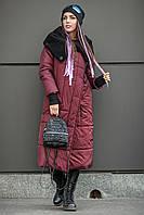 Зимовий пуховик-плащ МІЛАН бордо, фото 1