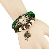 Женские часы с кожзам ремешком под старину с брелком дерево , женские кожзам часы зеленый