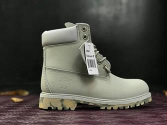 Мужские зимние ботинки Timberland Classіc (Тимберленд) серые-камуфляжные