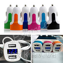 Зарядка USB в прикуриватель на 2 выхода (ток, напряжение), автомобильная зарядка USB 3в1,  3.1A , фото 3