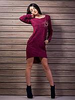 Молодежное платье из трикотажа ассиметричного кроя