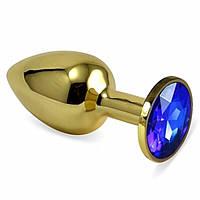 Анальная пробка золотая ,плаг стальная с камнем + чехол. Разные цвета.