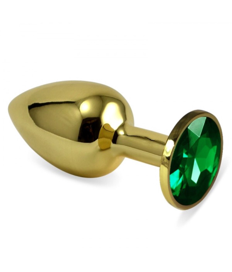 Анальная пробка золотая ,плаг стальная с камнем + чехол.Зеленая.