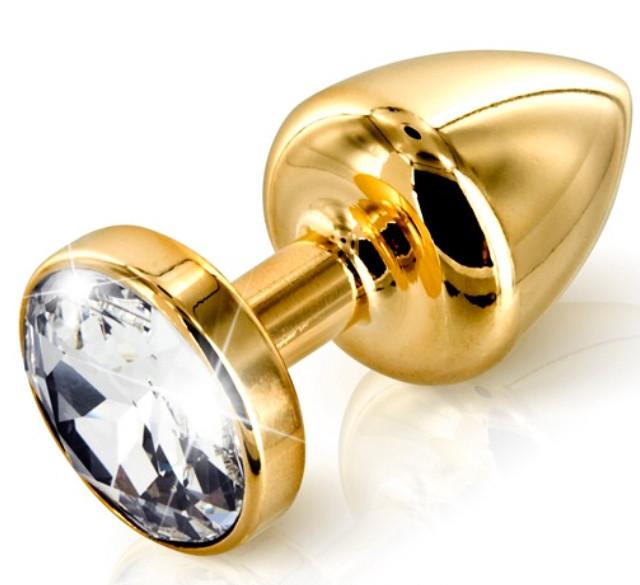Золотая анальная пробка с прозрачным кристаллом в чехле 2.8*7 см Металлическая