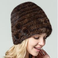 Коричневая женская шапка из вязанной норки по спирали с цветами, коричневая