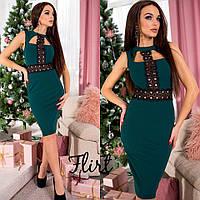 Красивое вечернее платье из креп-дайвинга с отделкой из кружева-макраме р.42-44