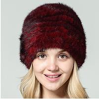 Меховая женская шапка из вязанной норки по спирали с цветами, бордовая