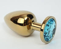 Анальная втулка,пробка золото с камнем + чехол.Голубая
