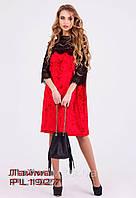 Красное велюровое платье с гипюровыми вставками Лайма.