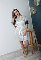 Интересный женский атласный халат на запах 42-48