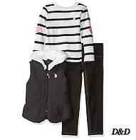 Детский комплект одежды для девочки, джинсы, жилет, кофта, U.S. Polo Assn.