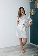 Белый женский атласный халат на запах 44-50