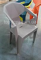 Кресло пластиковое Muzе taupе plastic с подлокотниками, цвет серый