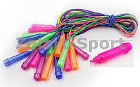 Скакалка детская с PVC жгутом и блестками  (10шт в уп., цена за 1шт) (l-2,5м, d-4,6мм)