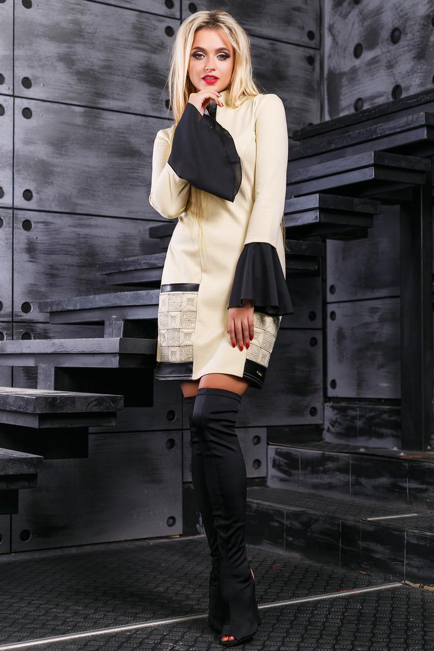 86e480b58f04848 Эффектное Короткое Платье с Пышными Рукавами из Шифона Бежевое S-XL -  Ukraine In Trend