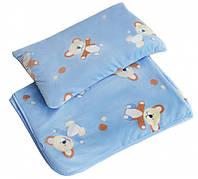 """Плед и подушка Twins велюр """"Мишка"""" 120х95 см blue"""
