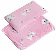 "Плед и подушка Twins велюр ""Мишка"" 120х95 см pink"