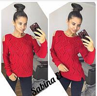 Женский вязаный свитер с разрезами на плечах, 8 цветов.