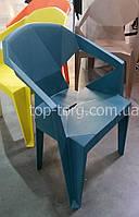 Кресло пластиковое Muzе tеalbluе plastic с подлокотниками, голубой цвет