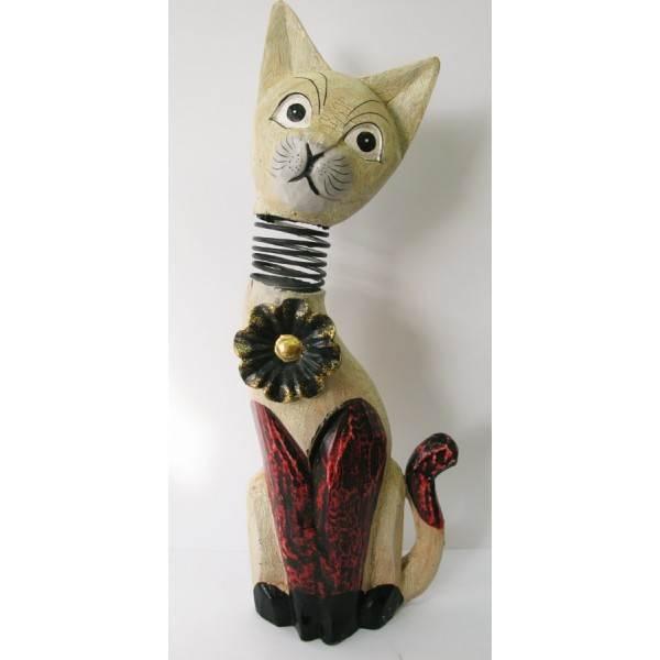 Деревянная статуэтка Кот пружина