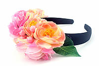 Дизайнерский обруч с розами розового и оранжевого цвета