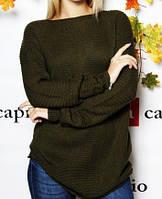 Модный вязаный свитер  (цвет хаки) / Джемпер женский, теплый