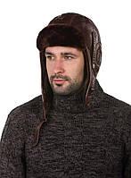 Шапка-шлем авиационный меховый коричневый