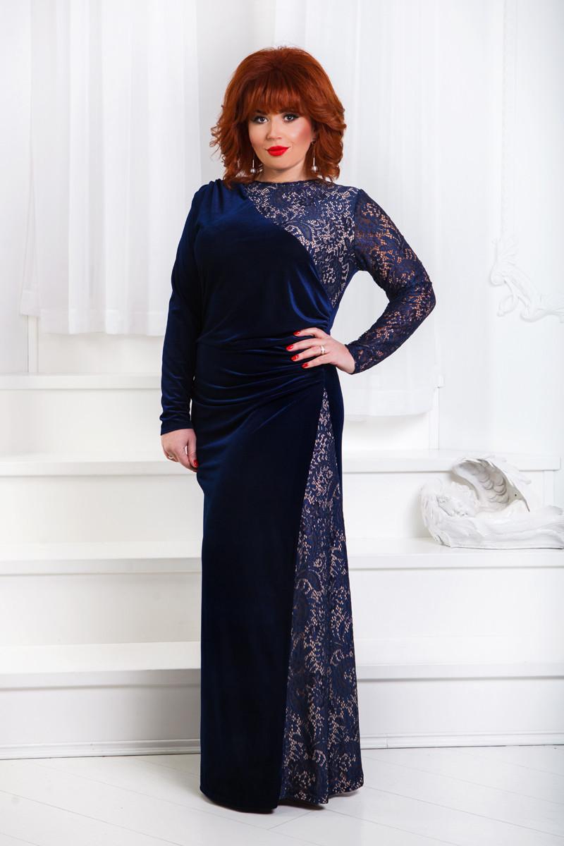 ДР1554 Бархатное платье размеры 50-56 Синий