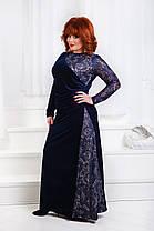 ДР1554 Бархатное платье размеры 50-56 Синий, фото 2