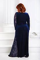 ДР1554 Бархатное платье размеры 50-56 Синий, фото 3