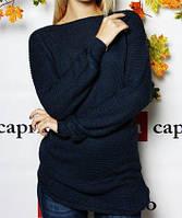 Модный вязаный свитер  (цвет джинсовый) / Джемпер женский, теплый