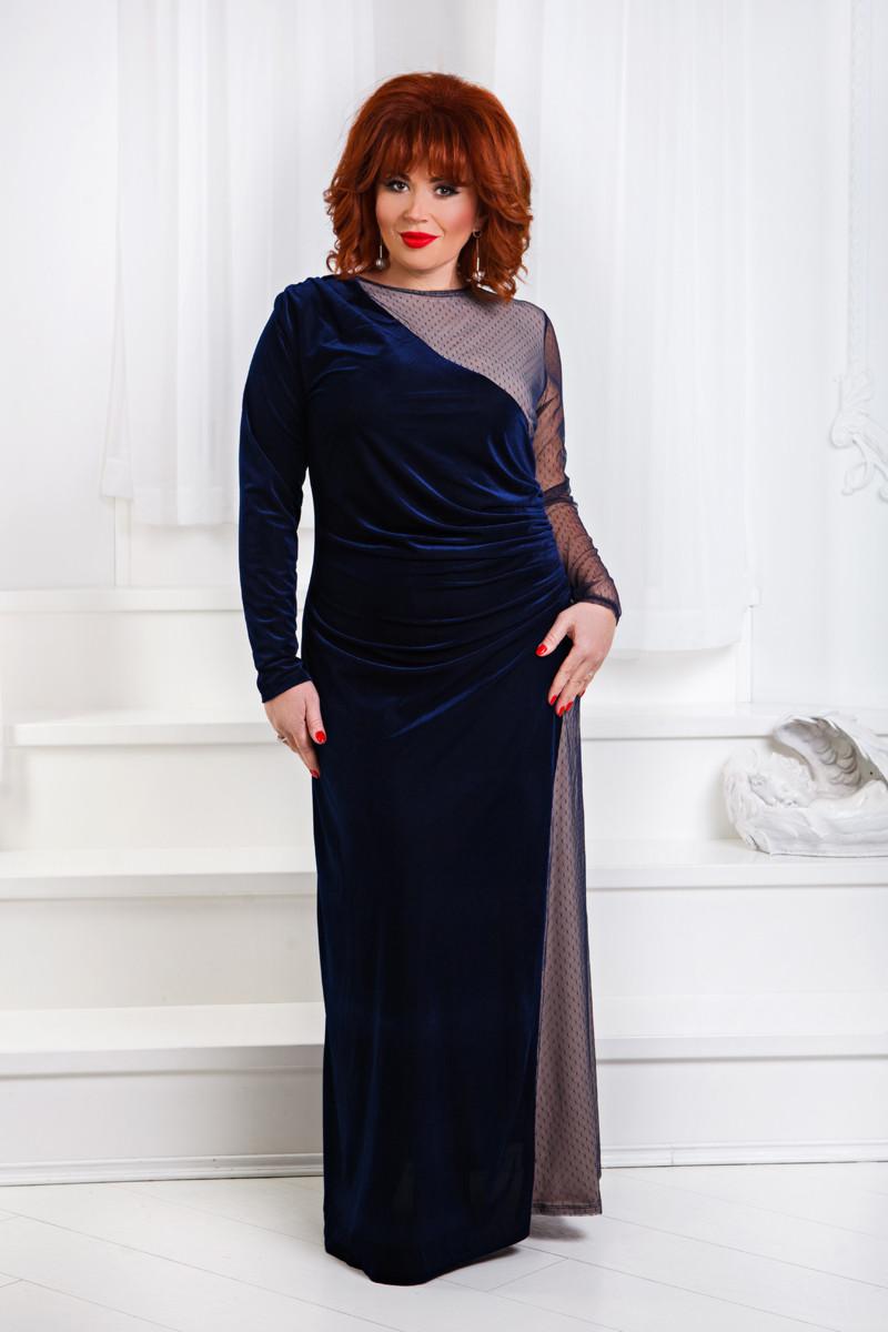 ДР1555 Бархатное платье с сеткой размеры 50-56