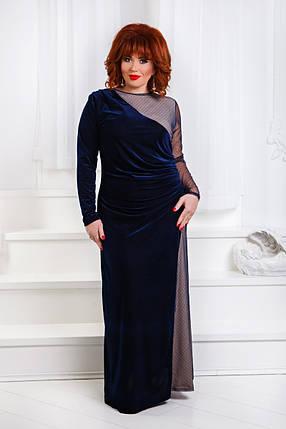 ДР1555 Бархатное платье с сеткой размеры 50-56 , фото 2